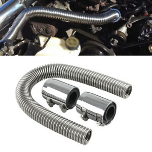 "Adjustable 24"" Flexible Stainless Upper/Lower Radiator Hose Kit with Chrome Caps"
