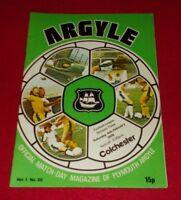 FOOTBALL PROGRAMME PLYMOUTH ARGYLE V COLCHESTER 4.2.1978
