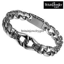 """8"""" Heavy Retro Vintage Biker Men's 15MM Wide Stainless Steel Wristband Bracelet"""