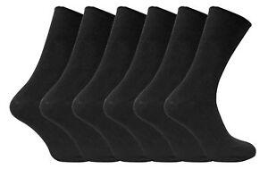 6 Pairs Mens Thin Black Ribbed Soft 100% Cotton Rich  Elastic  Top Dress Socks