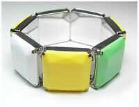 Neu ARMBAND Armreif ELASTISCH in gelb/grün/weiß/silber ARMSCHMUCK