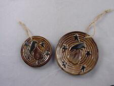 PRiMiTiVe CROW PEAR STAR Folk Art Plate Ornaments 2pc Honey & Me NEW