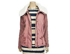 Jack&Jill Womens Casual Fur Detailed Zip Up Jumper Jacket Indigo Pink Size M NWT