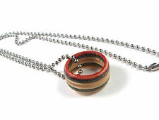 RECYCLED SKATEBOARD Wooden Ring Necklace Handmade Wood Pendant Cool Mens Womens