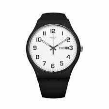Orologio Swatch TWICE AGAIN SUOB705 GOMMA watch uomo SILICONE NERO BIANCO PAPA
