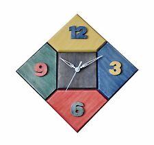 OROLOGIO DA PARETE MULTICOLORE, IN LEGNO, ARTIGIANATO, MULTICOLOR WALL CLOCK