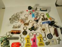 Junk Drawer Lot.  Keychains, John Deere, Boggles game, old Ads, and more!