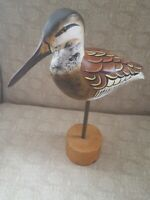 """HAND CARVED SHOREBIRD DECOY ◇ GLASS EYES HAND PAINTED DECORATED BODY  10.5"""" LONG"""