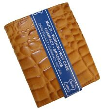 Tan Crocodile Embossed Cowboy Credit Card ID Window Leather Men's Trifold Wallet