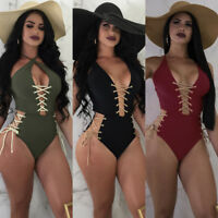 US STOCK Sexy Womens Swimwear One Piece Swimsuit Monokini Push Up Bikini Bathing