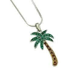 Silver Tone Palm Tree Pendant Necklace Rhodium Plated Gift Boxed