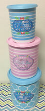 Tupperware One Touch Canisters Set Of 3 Blue, Pink w/ Matching Seals New
