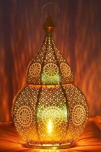 Orientalische Marokkanische Laterne Windlicht Garten Metall Vintage Tischlaterne