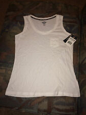 CA-4 Dickies Womens Pocket Tank Top NWT - White  100% Cotton