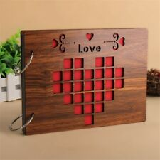 8 Inch Handmade Wood Cover Photo Album Memory Wedding Scrapbook Love Xmas Gift