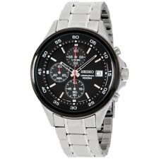 Seiko Chronograph Black Dial Stainless Steel Men's Watch SKS491