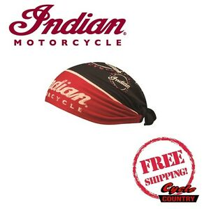 GENUINE INDIAN MOTORCYCLE BRAND HEAD TIE WRAP NEW RED BLACK SCOUT CHIEF