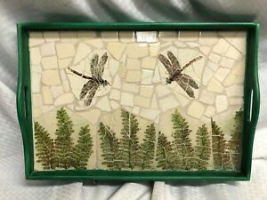OOAK Broken Stained Glass Mosaic Serving Candle Tray Dragon Fly & Ferns MUST SEE