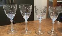 "4 Vintage Libbey Rock Sharpe?  8""Cut Crystal Water Wine Goblets Glasses"
