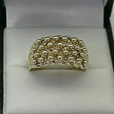 9ct Gold Hallmarked 4 x Row Keeper Knot Ring.  Goldmine Jewellers.