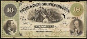 1861 $10 DOLLAR BILL SOUTH CAROLINA BANK NOTE LARGE CURRENCY OLD PAPER MONEY