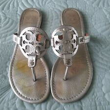 Tory Burch Womens Miller Thong Flat Silver Sandals Shoes size 8