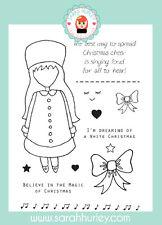 Sarah Hurley Doodle Muñecas-Navidad Carol niña conjunto de sello