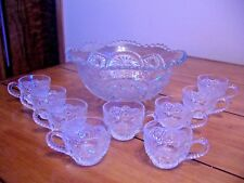 VINTAGE PRESSED GLASS PUNCH BOWL w/9 CUPS - Sawtooth w/Daisy & Button