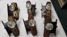 7 Pair, 14  Matching Antique Glass & Star, Rose Mercury Door Knobs w/ Locksets