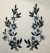 Iron On Applique Embroidered Patch - Large Flowers - Black/Silver/White