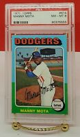 1975 Topps #414 Manny Mota Los Angeles Dodgers PSA 8  NM/MT Outfielder, Coach