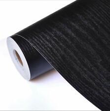 Auto Adhesivo Película Negro papel de contacto de grano de madera Madera cáscara y palillo Wallpaper