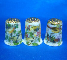 Birchcroft Thimbles -- Set of Three  -- Gold Top Garden Birds ( Make Offer )