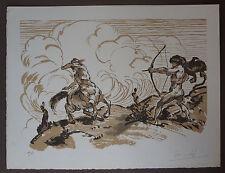 """JULES CHADEL (1870/1941) Bois gravé  """" COMBAT  """" Signé"""