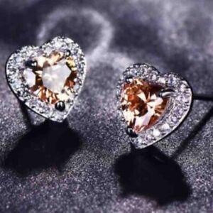 2CT Heart Yellow Citrine Diamond Halo Earrings Women Jewelry Sterling Silver