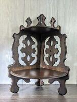 "Vintage Folk Art Carved Wood Art Nouveau Deco Antique Corner Shelf 18.25""H 12""W"