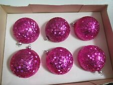 6 Pink VTG Unbreakable Ornaments Made in Italy #670