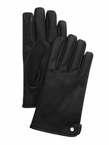 CALVIN KLEIN Mens Black Faux Leather Fleece-Lined Touchscreen Compatible Gloves