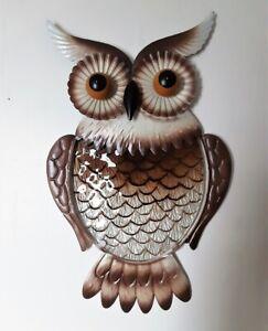 """Large Hanging OWL Textured Metal Glass Wall Art Indoor Outdoor 18""""H"""