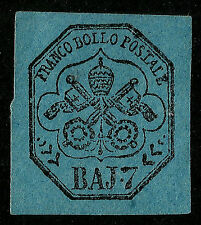 PAPAL ROMAN STATES, BAJ 7, BLUISH PAPER, YEAR 1852, UNUSED, NO GUM