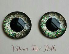 Blythe Doll Handpainted Gold Rim Black Holographic Glitter Metallic Eyechips