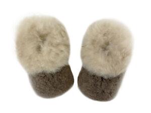 PETIDOUX Toddler Brown Alpaca Slippers $58 NEW