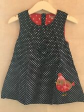 BNWT Navy Blue Applique Robin Pinafore Dress - Soft Cord - 3-4 Years