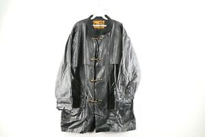 Vtg 90s Streetwear Mens Large PVC Toggle Clasp Hook Fireman Rain Jacket Black