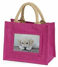 Yellow Lab Pup 'Yours Forever' Little Girls Small Pink Shopping Bag , AD-LP1yBMP