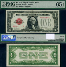 FR. 1500 $1 1928 Legal Tender A00001120A A-A Block Gem PMG CU65 EPQ Gorgeous