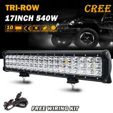 Tri-row CREE 17inch 540W LED Light Bar Combo Offroad Driving 4WD Truck ATV SUV