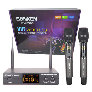 SONKEN WM2500 2X PROFESSIONAL UHF WIRELESS MICROPHONES WITH LED MIC FREQ DISPLAY