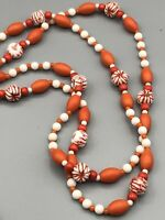 "53"" Vintage Orange Textured and White GLASS BEAD Necklace #170"