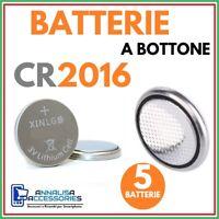 5 BATTERIE AL LITIO CR2016 3V VOLT PER OROLOGIO AUTO STOCK PILE 2016 A BOTTONE